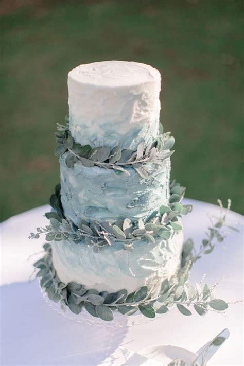 picture   textural blue watercolor wedding cake