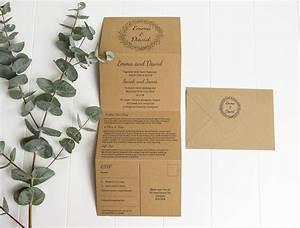 tri fold wedding invitations with twine rustic wedding With tri fold rustic wedding invitations