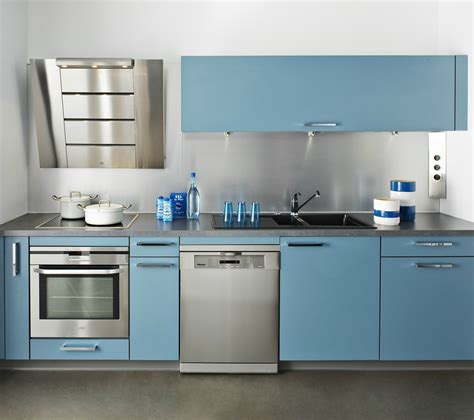 cuisine darty bleu avec hotte design photo 2 20 cr 233 dence en inox et fa 231 ades en stratifi 233