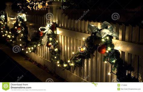 holiday fence decorations stock photo image  bows