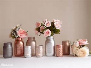 Rose Gold Decor : blush rose gold wedding decor centerpiece metallic mason jars copper silver grey wedding misc ~ Teatrodelosmanantiales.com Idées de Décoration