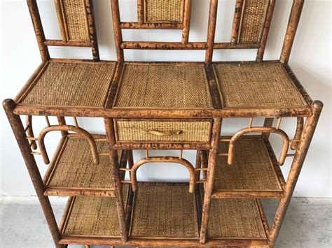 1960s Bamboo And Rattan Pagoda Étagère Plant Stand For