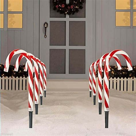 pc christmas lighted  tall candy canes path lights