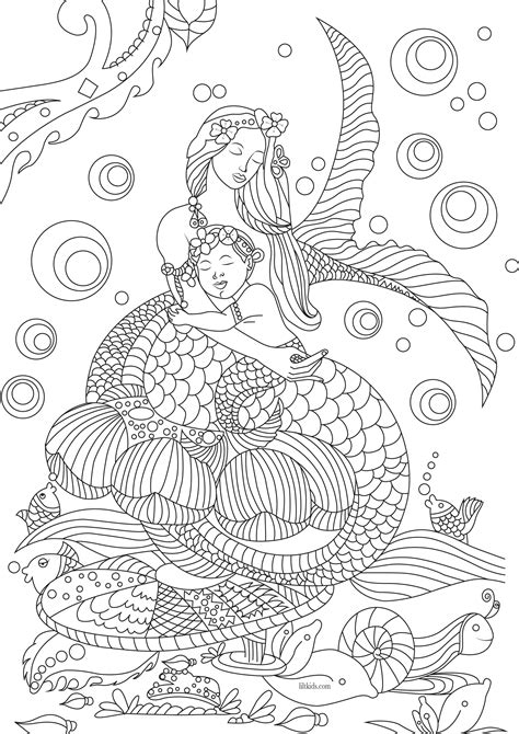beautiful mermaid adult coloring book image