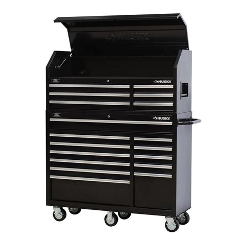 husky 52 in 18 drawer tool chest and rolling tool cabinet set black htc5206 hmt5212 the home