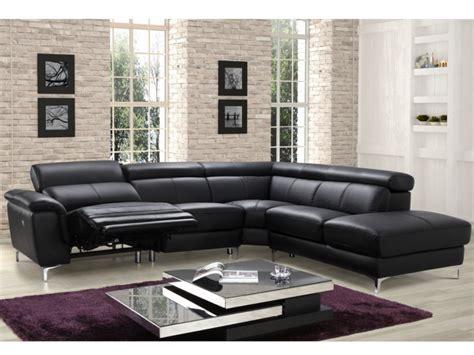 canapé d angle relax canapé angle relax électrique en cuir noir sitia