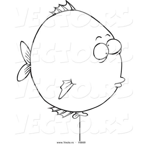Artsy Coloring Pages Vector Of A Balloon Fish Outlined Coloring Page