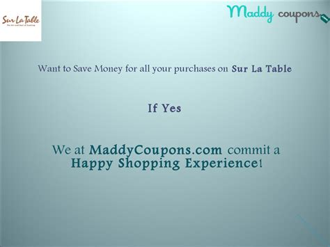 sur la table coupon code save your money with all your purchase on sur la table