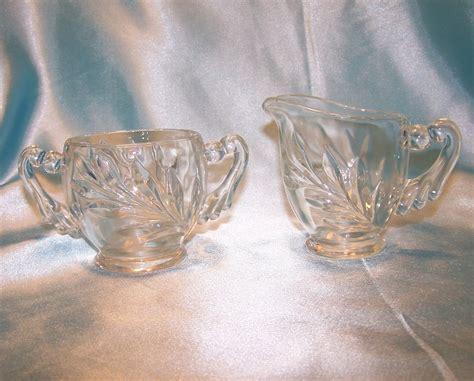 Pressed Glass Creamer, Sugar Bowl w Draped Handles, Vintage