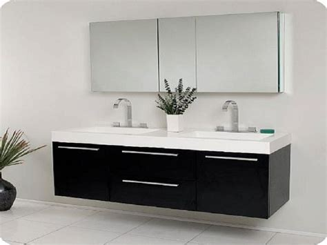 Black Modern Double Sink Bathroom Vanity Cabinet
