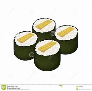 Fried Egg Sushi Roll Or Tamagoyaki Maki On White Stock ...