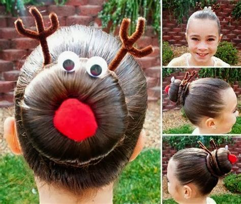 pretty hairstyle for christmas rudolph bun diy alldaychic