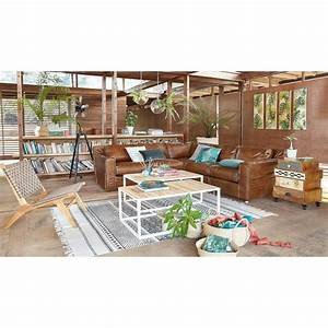 Tapis En Coton : tapis en coton cru motifs noirs 140x200 vizca maisons ~ Nature-et-papiers.com Idées de Décoration