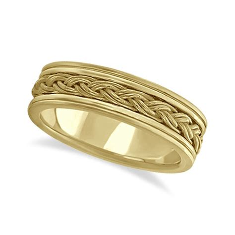 s braided woven wedding band 18k yellow gold 6mm
