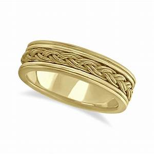 Men39s hand braided woven wedding band 18k yellow gold 6mm for Woven wedding ring