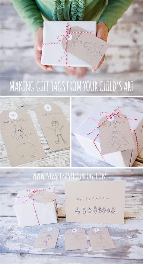 make simple christmas gift tags from children s art