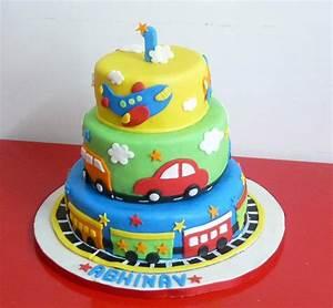 Nice colorful Fondant Cake for Boy Train, Airplane, Cars