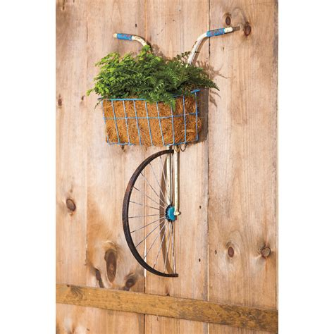 Wayfair Outdoor Wall Decor by Front Basket Metal Bicycle And Planter Wall Decor Wayfair