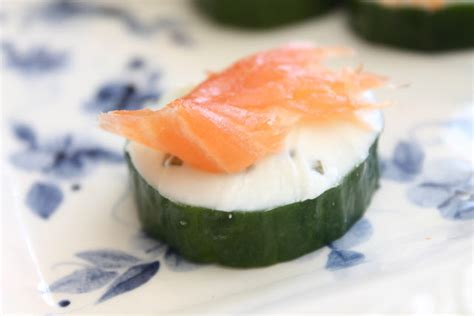 salmon canapes easy canapes salmon cucumber and cheese