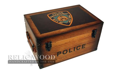 custom police department badge keepsake box