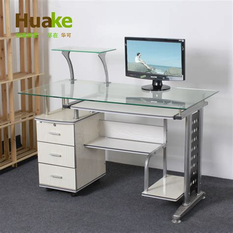 small 3 drawer desk small long 120 60 high 74cm wide white tempered glass