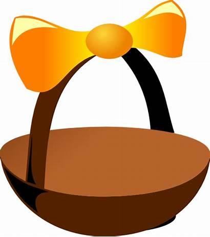 Basket Easter Empty Clip Cartoon Clipart Ribbon