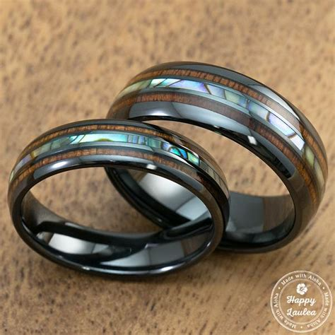 pair   mm black ceramic ring  mid abalone shell