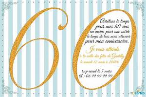 Faire Part Anniversaire 60 Ans : invitation anniversaire 60 ans avec effet paillet or ~ Edinachiropracticcenter.com Idées de Décoration