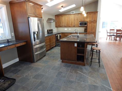 modern kitchen  slate floor creativetilingsolutions