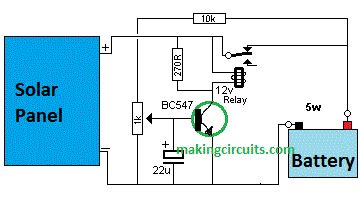 Automatic Solar Charger Circuit Single Transistor