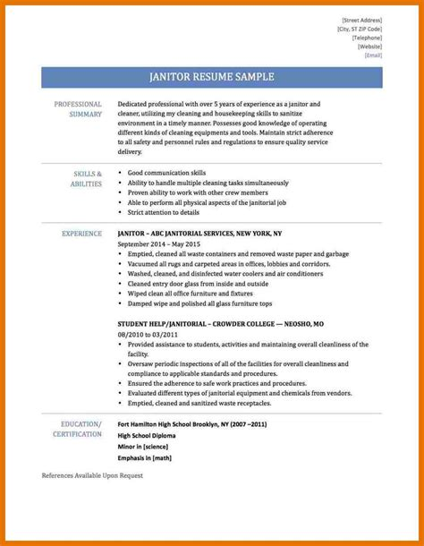 Janitor Resume Duties by 12 13 Janitorial Resume Templates 2l2code