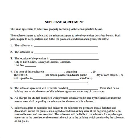 tenant lease agreement templates   ms word