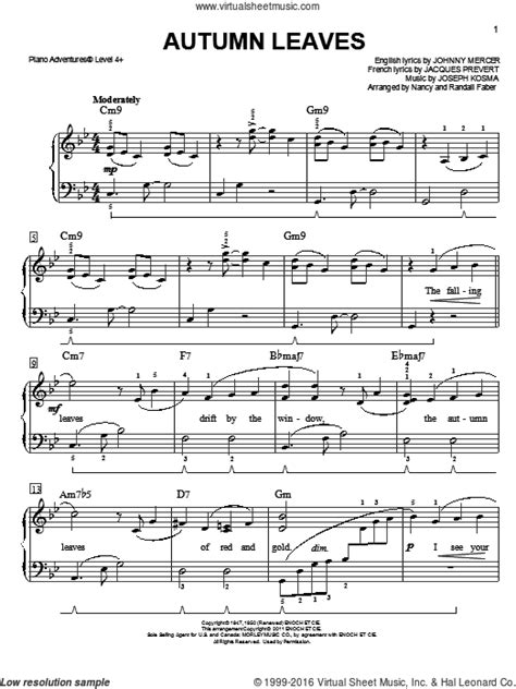 Mercer - Autumn Leaves sheet music for piano solo [PDF]