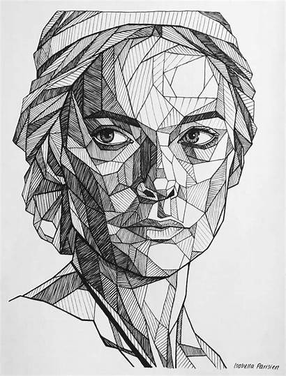 Geometric Face Drawing Faces Drawings Line Rebecca
