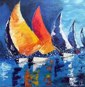 Tableau Peinture Sur Toile : tableau peinture acrylique sur toile balade en mer pinteres ~ Teatrodelosmanantiales.com Idées de Décoration