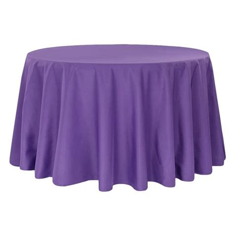 "Economy Polyester Tablecloth 120"" Round Purple CV Linens"