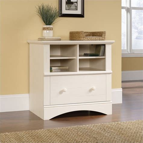 drawer lateral wood file cabinet  antique white