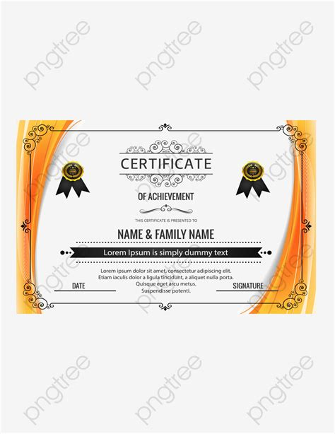 orange technology border qualification certificate vector