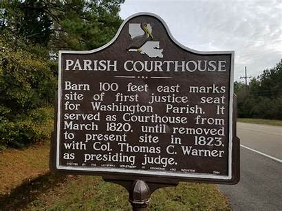 Parish Courthouse Washington Louisiana Franklinton Site Marker