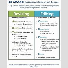 Helpful Writing Handout Revising And Editing Differences Tpt