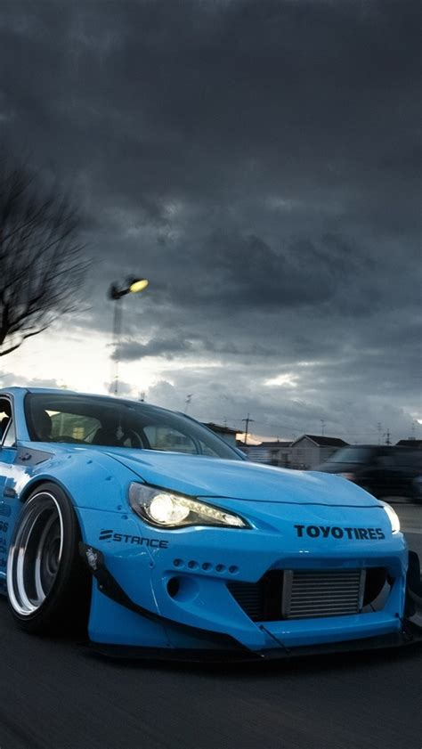 wallpaper toyota gt blue supercar front view