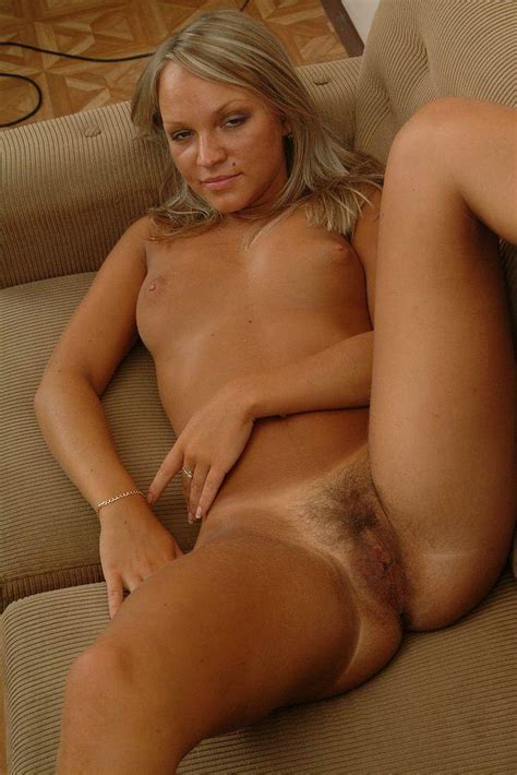 Horny Hairy Pussy Sexy Blonde Naked On The XXX Dessert