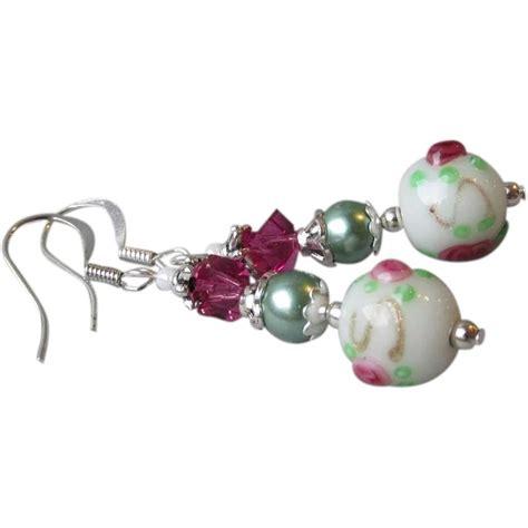 """""""My Secret Garden"""" Lampwork Art Glass Artisan Earrings"""