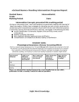 reading resource intervention progress report template tpt