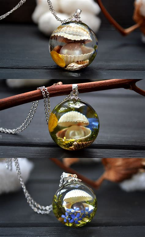 sea shell necklaces epoxy resin resin art handmade