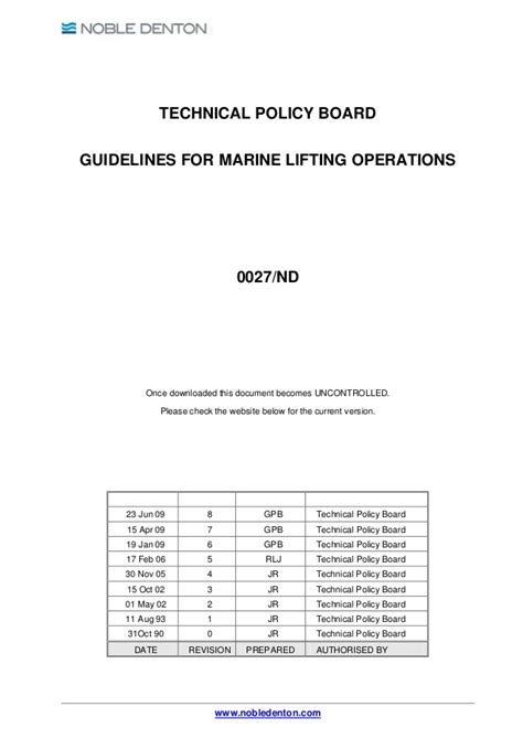 Guidelines for marine lifting operations