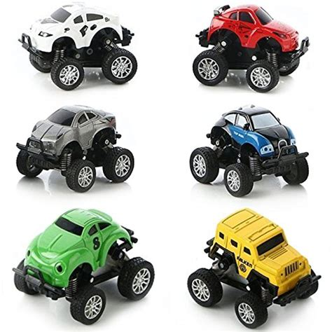 monster truck race track toy diecast toy 6 play vehicles set push pull back toys
