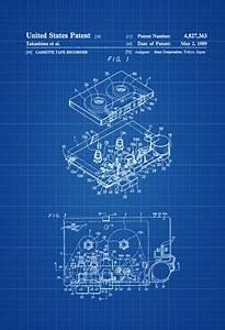 Sony walkman patent print wall decor audio