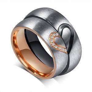 romantic love heart black rose gold titanium steel cz With wedding rings for both man and woman