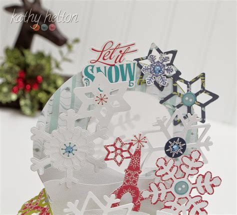 """(1) card base (3) card covers (1) merry christmas svg front and middle top covers (1) pocket (4) elements to make a tag (1) address label with season's greetings!, to: and from: (1) snowflake boxed envelope (3) christmas tree svg files (7) lace snowflakes svg files. Kathy's """"Piece""""ful Place: Christmas Box Card from SVG Cuts"""